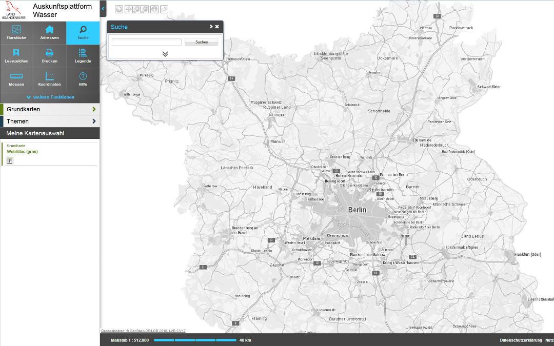 Screenshot der Nutzeransicht Auskunftsplattform Wasser.