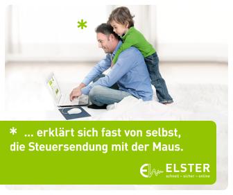 Mann und Kind am Laptop mit Schriftzug Elster