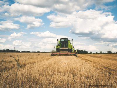 Ein grüner Traktor fährt über ein Feld. Am Himmel sind lockere Wolken.
