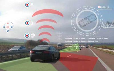 Fotomontage Fahrzeug und Gegenverkehr