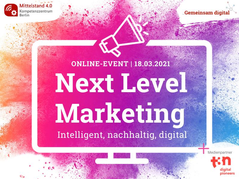 """Grafik mit dem Schriftzug """"Next Level Marketing"""""""